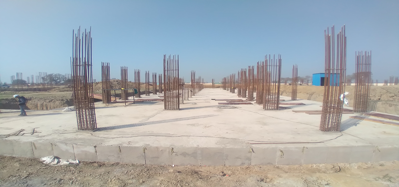 Academic block – 2nd pit RCC raft work in completed layout in progress 01.03.2021