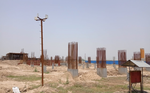Sports ComplexSPORTS COMPLEX –  column casting work in completed grade slab steel work in progress 31.05.2021