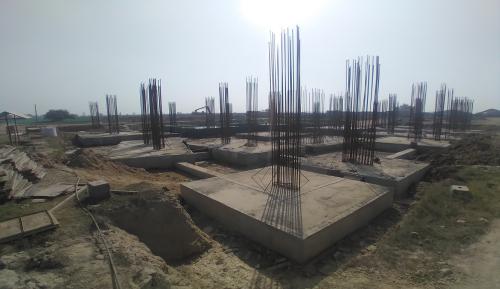 LIBRARY- footing steel work in progress & Footing RCC work in completed 01.03.2021