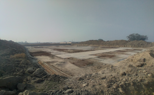 SPORTS COMPLEX – Footing layout work completed & steel work in progress- -(08-12-2020)
