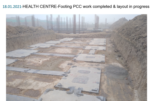 HEALTH CENTRE-Footing PCC work completed & layout in progress 18.01.2021