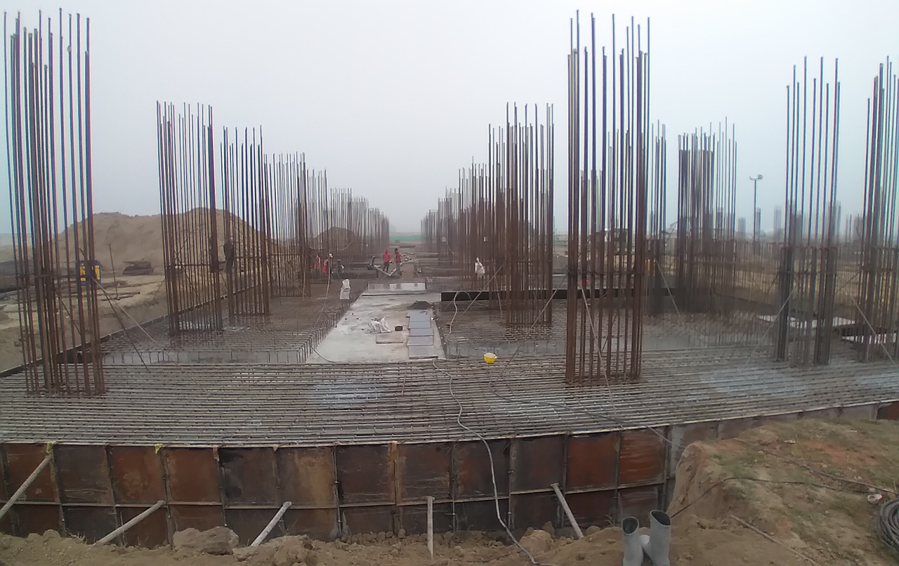 Faculty & Admin block –  Raft steel placing in completed RCC raft work in progress 16.02.2021