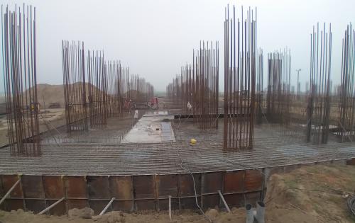 Faculty & Admin block –  Raft steel placing in completed RCC raft work in progress 16.02.2021