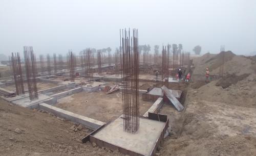 Dinning block – Footing steel work in progress, RCC Footing work in progress 11.01.2021