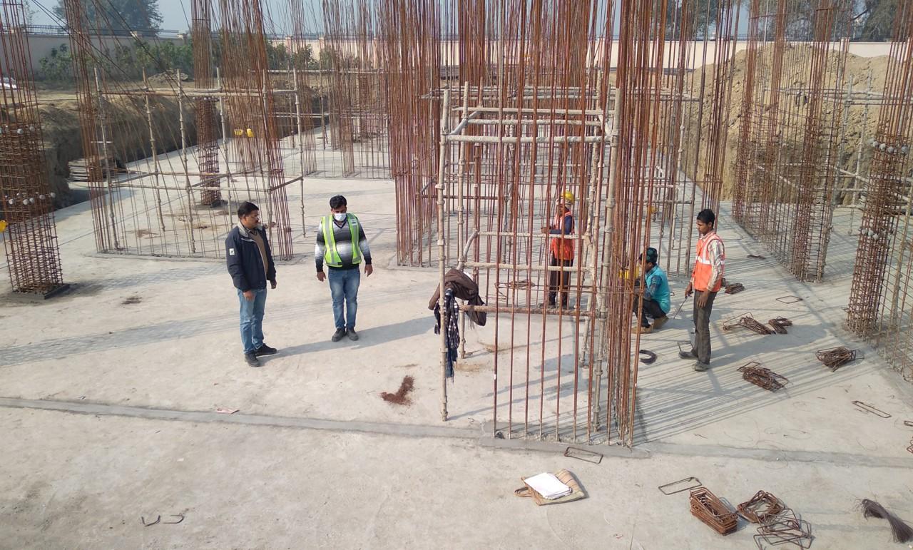 Hostel Block H1 – – Raft RCC work in completed layout work in progress 01.02.2021