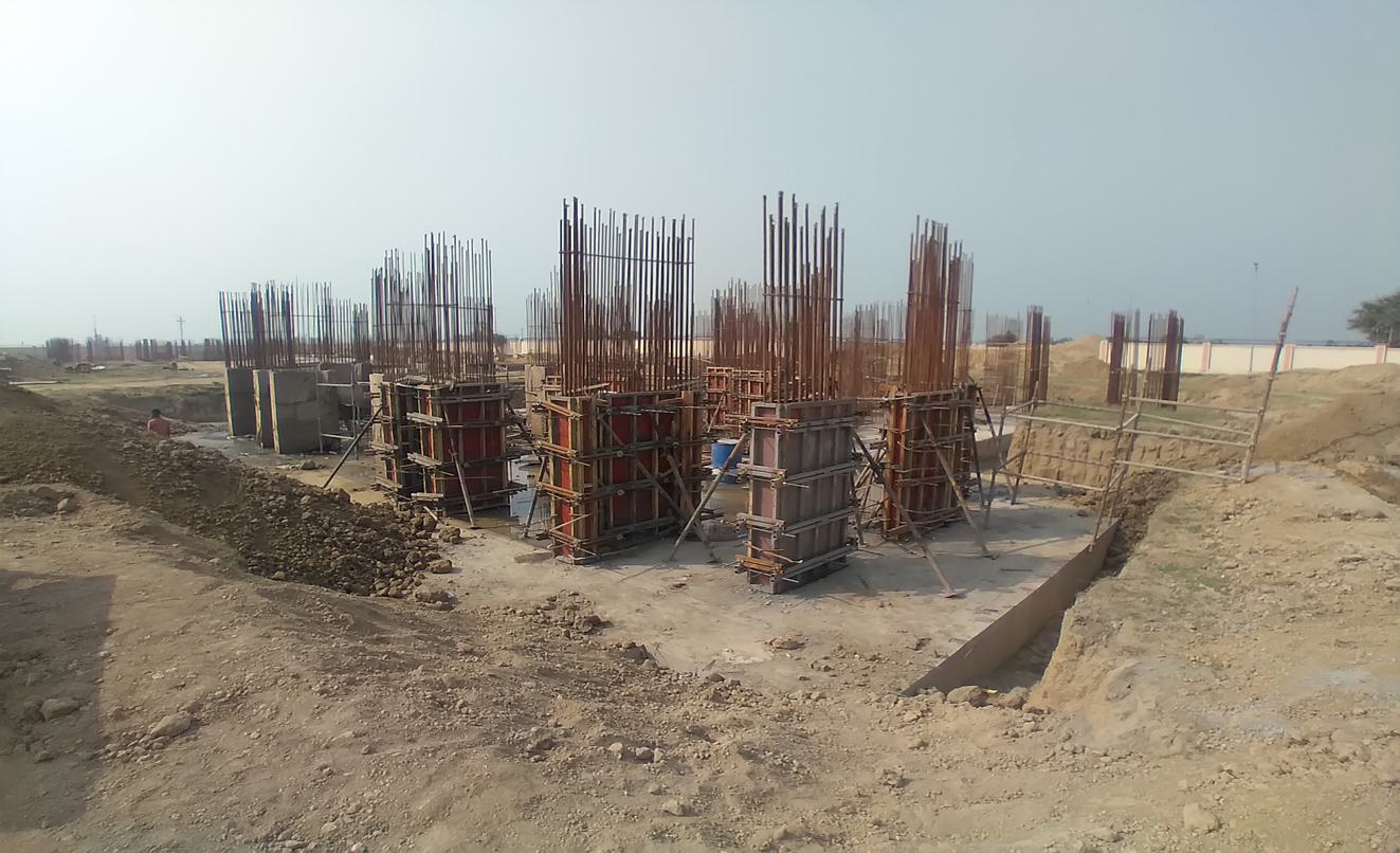 Non Teaching Staff Residence –  steel work in progress shear wall casting work in progress 09.03.2021