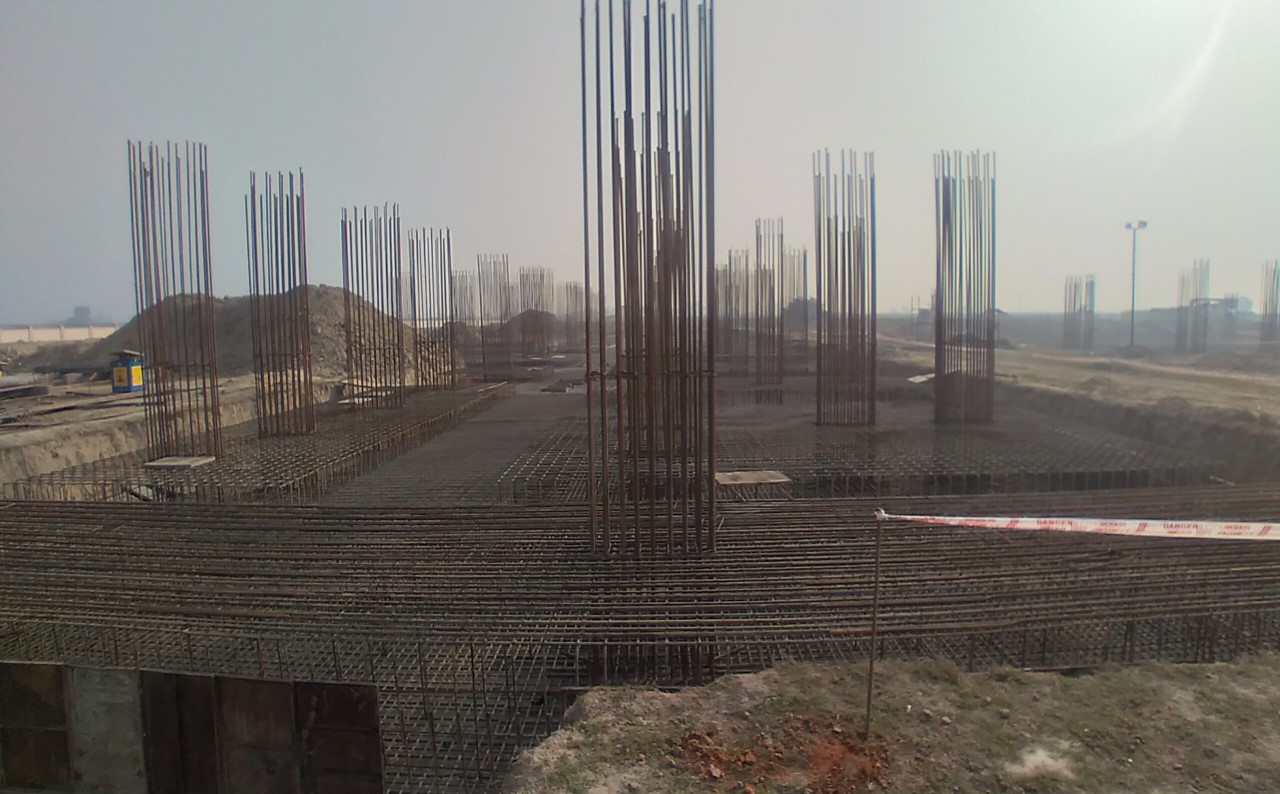 Faculty & Admin block –  Raft steel placing in progress 01.02.2021