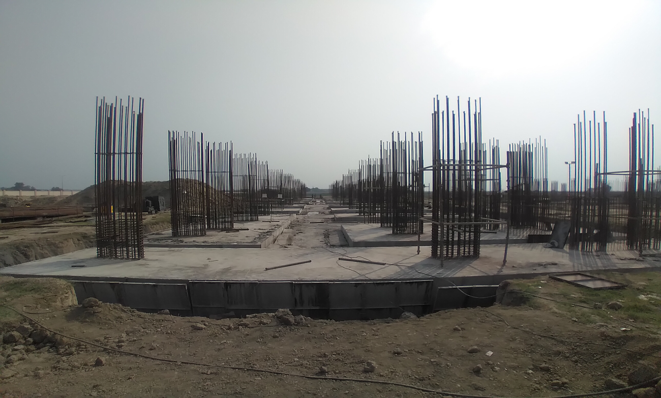 Faculty & Admin block –  Raft steel placing in completed RCC raft work in completed 09.03.2021