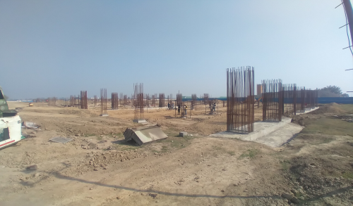SPORTS COMPLEX – Footing RCC work in completed layout in progress 01.03.2021