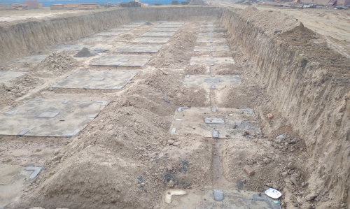 HVAC PLANT ROOM -  Footing PCC work completed & layout in progress (28.12.2020)