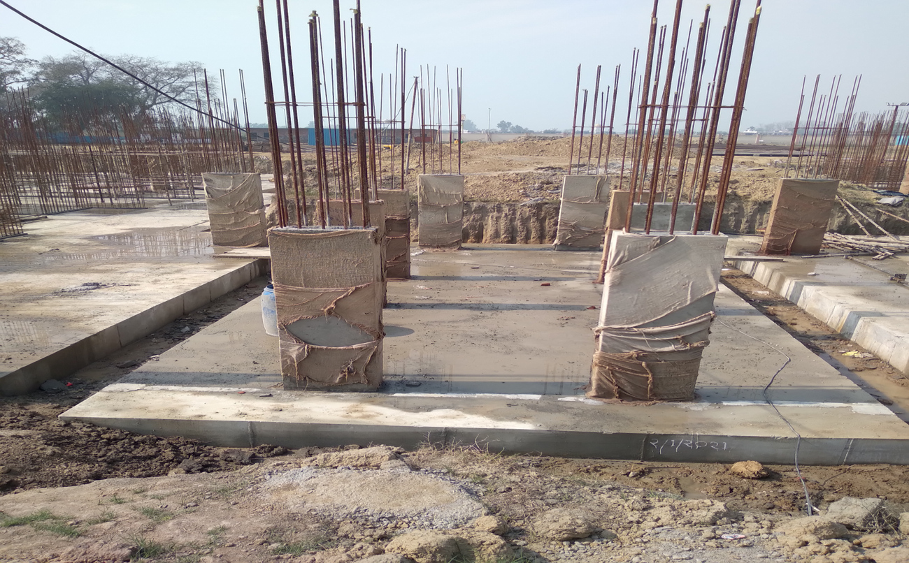 Hostel Block H6 – Raft RCC work Completed column casting work in completed 23.02.2021