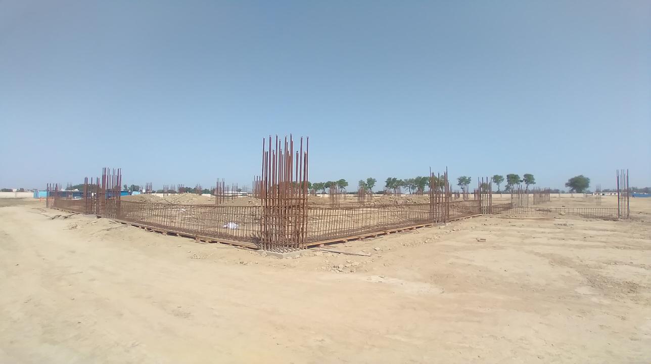 Dinning block – column casting work in completed soil filling work in progress grid slab works in progress 12.04.2021