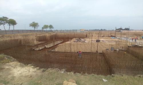 AUDITORIUM  –  Footing PCC work  in completed steel work in progress 22.03.2021