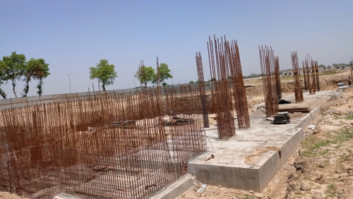 AUDITORIUM  –  RCC raft work  in completed RCC Wall casting work in progress 24.05.2021