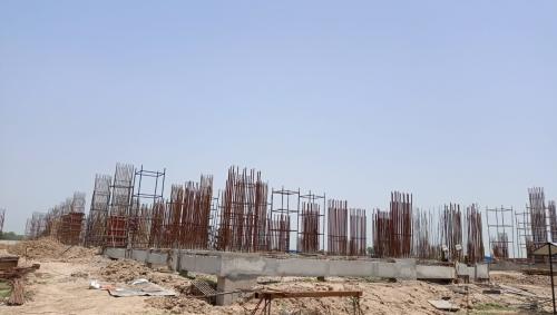 Faculty & Admin block – grade slab works in progress column casting work in progress 29.06.2021.png