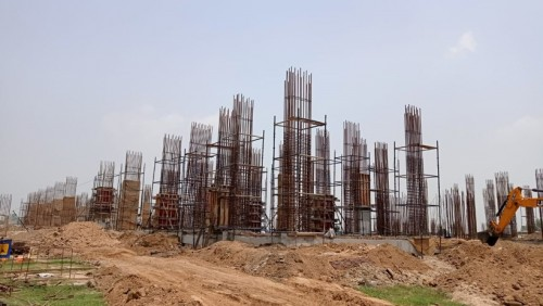 Faculty & Admin block – grade slab works in progress column casting work in progress 05.07.2021.jpg