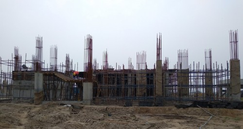 Academic block – 2nd pit grade slab works in progress column casting work in progress 09.08.2021.jpg