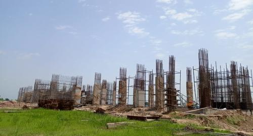 Faculty & Admin block – grade slab works in progress column casting work in progress 16.08.2021.png