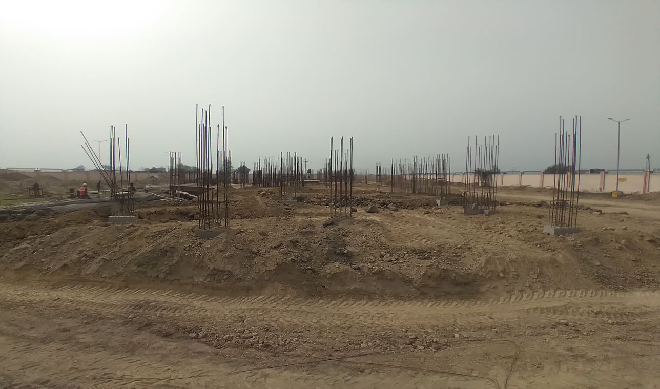 Professor's residence – Raft RCC work Completed column casting work in completed soil filling work in completed 15.03.2021