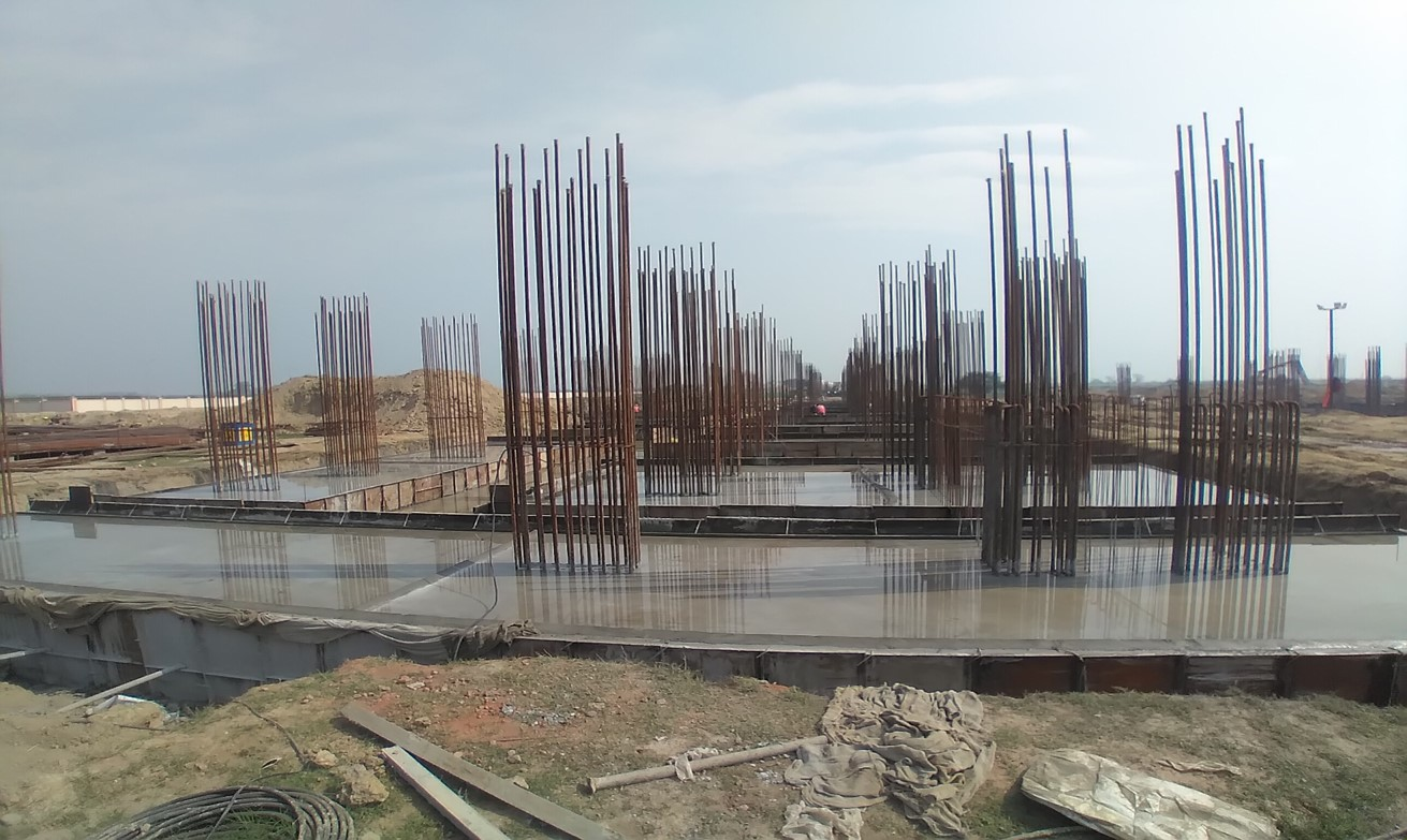 Faculty & Admin block –  Raft steel placing in completed RCC raft work in progress 23.02.2021