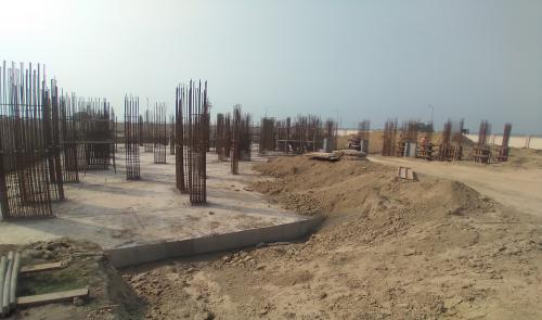 Associate Professors Residence – layout in progress & Steel work in progress column casting work in progress 09.03.2021