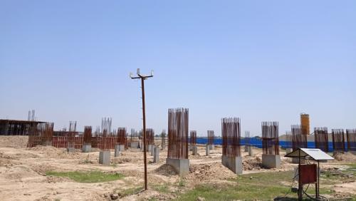SPORTS COMPLEX –  column casting work in completed grade slab steel work in progress 24.05.2021