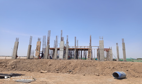 DDirector's residence – Column casting  work in completed slab shuttering work in progress 19.04.2021