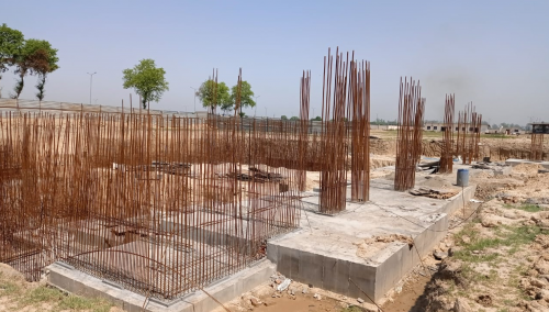AUDITORIUM  –  RCC raft work  in completed RCC Wall casting work in progress 17.05.2021