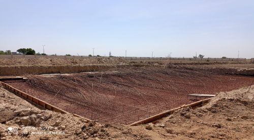 WATER TANK & Plant room  - Footing PCC work complete layout work completed steel works in progress 19.04.2021