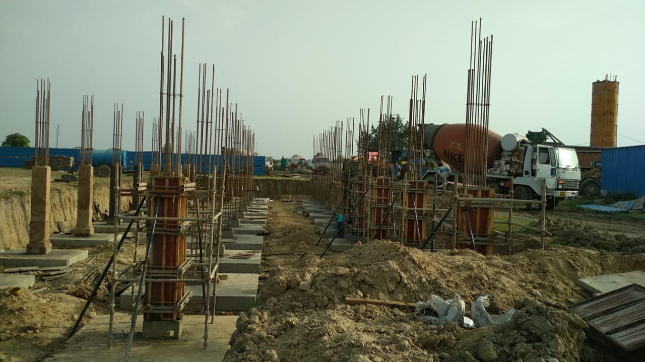 HVAC PLANT ROOM -  Footing casting work in completed column casting works in progress 22.03.2021