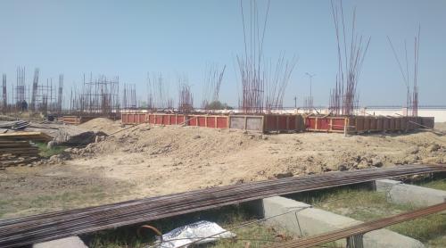 Professor's residence – Soil filling work in completed grade slab beam casting work in progress 26.04.2021
