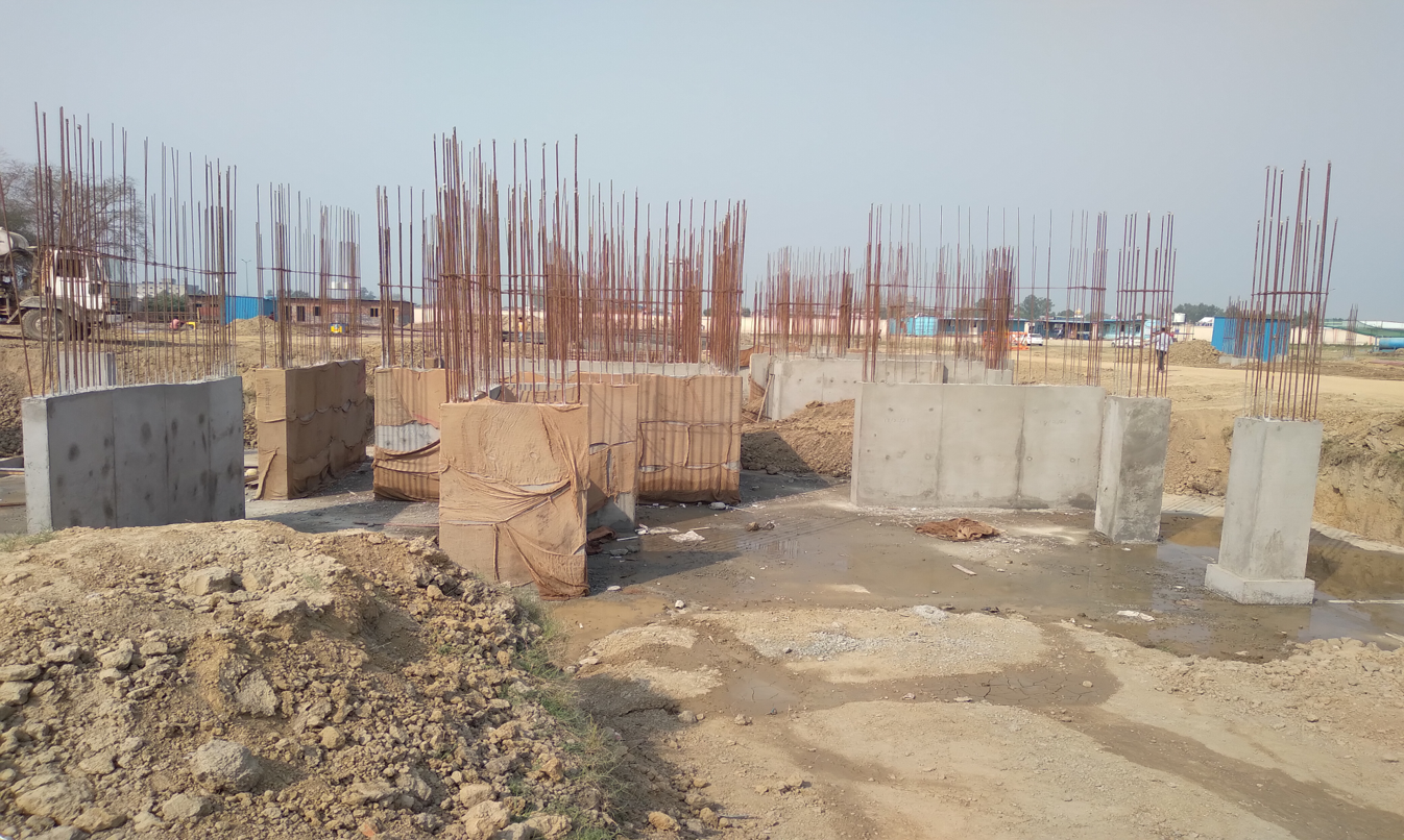 Hostel Block H7- Raft RCC column casting &shear wall work in completed 09.03.2021