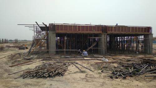 CAFETERIA & SHOPPING - slab shuttering work in progress & steel work in progress 04.05.2021