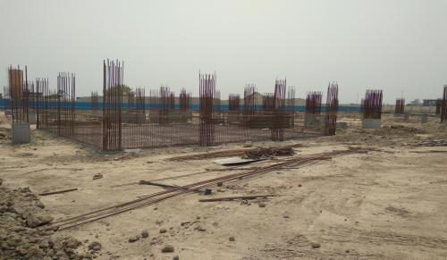 SPORTS COMPLEX –  column casting work in completed grade slab steel work in progress 04.05.2021
