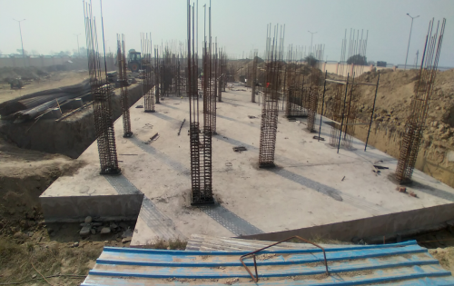 Professor's residence – Raft RCC work Completed column casting work in progress 08.02.2021
