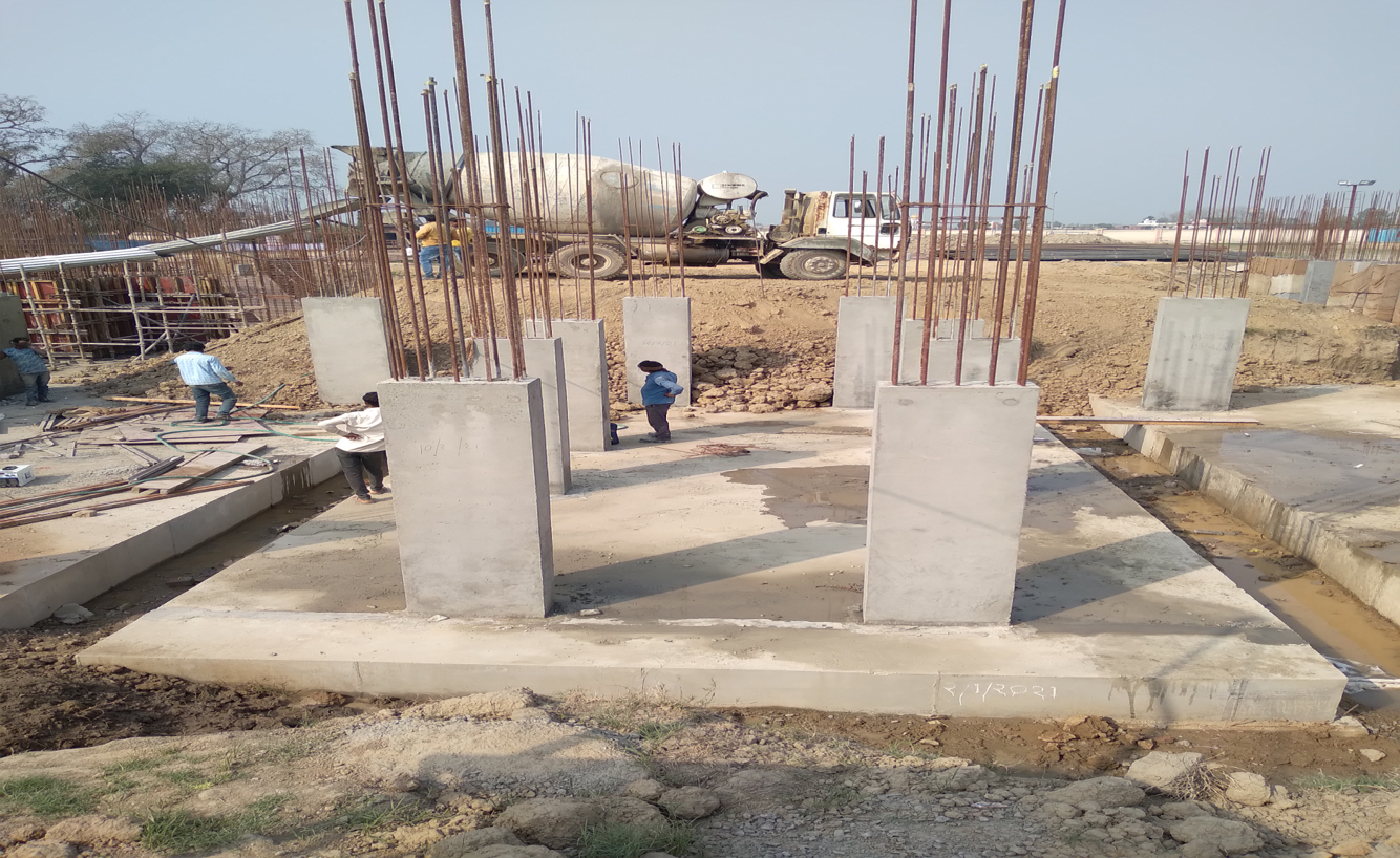Hostel Block H6 – Raft RCC work Completed column casting work in completed 09.03.2021