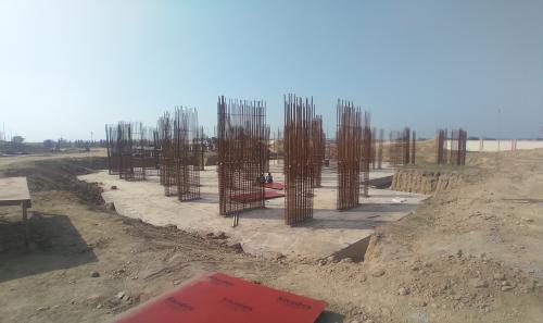 Non Teaching Staff Residence –  Raft RCC work Completed layout in progress steel work in progress 01.03.2021