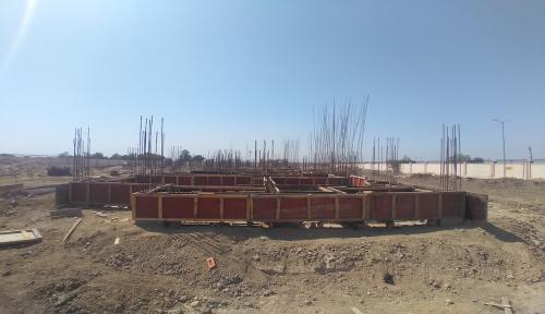 Professor's residence – Soil filling work in completed grade slab beam casting work in progress 19.04.2021