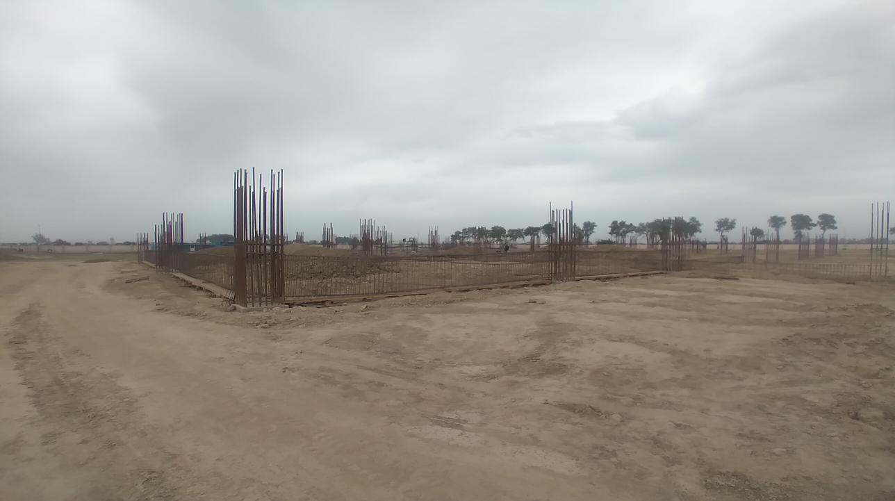 Dinning block – column casting work in completed soil filling work in progress grid slab works in progress 05.04.2021