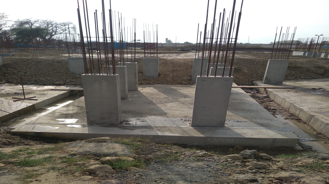 Hostel Block H6 – Raft RCC work Completed column casting work in completed 22.03.2021