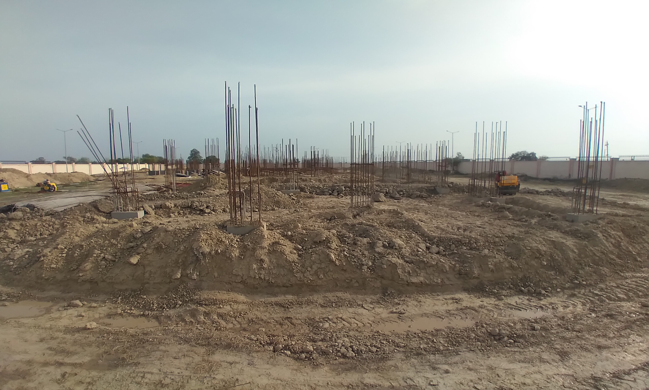 Professor's residence – Raft RCC work Completed column casting work in completed soil filling work in completed 22.03.2021