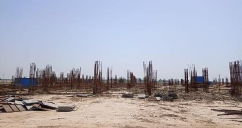Academic block – 1st pit soil filling work in completed grade slab work in progress 17.05.2021