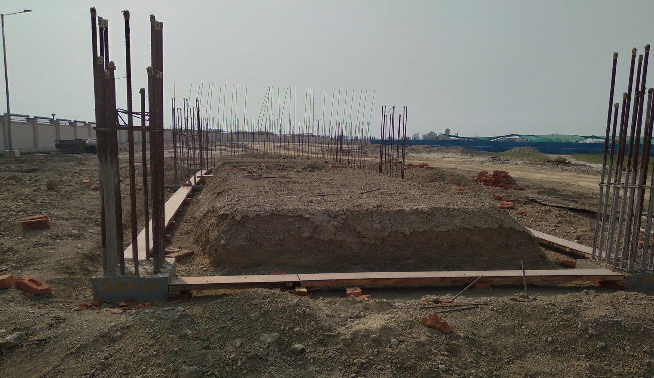 WAITING ROOM - RCC footing in complete column casting work in completed 09.03.2021