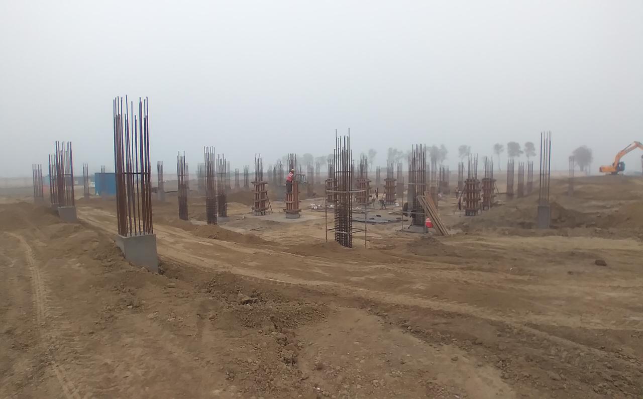 Dinning block – column casting work in progress & layout in progress 16.02.2021