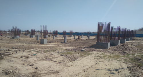 SPORTS COMPLEX –  column casting work in completed steel work in progress 26.04.2021