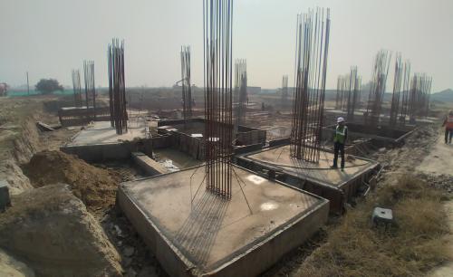 LIBRARY- footing steel work in progress & Footing RCC work in progress 16.02.2021