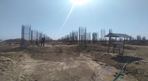 Faculty & Admin block –  soil filling work in completed grade slab works in progress 19.04.2021 Block