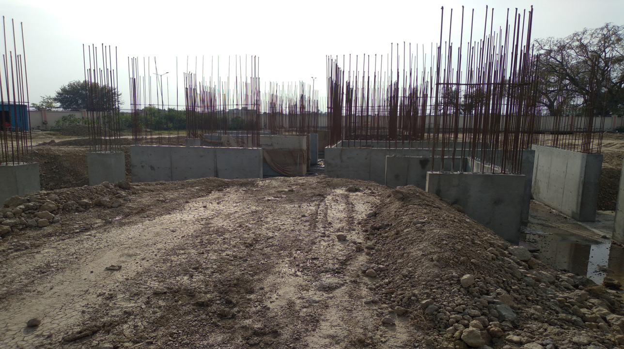 Hostel Block H1 – layout work in completed column casting work in progress 22.03.2021