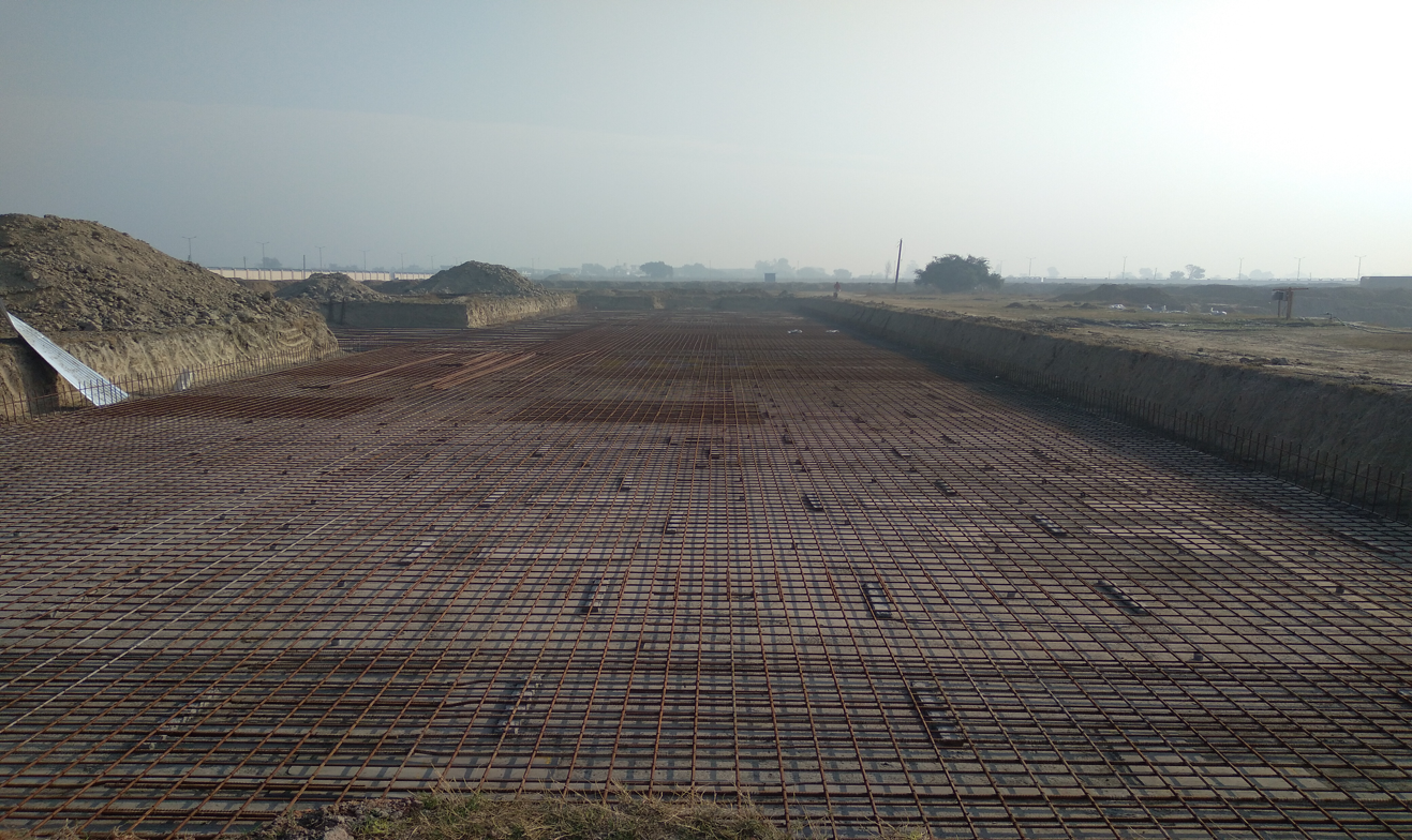 Faculty & Admin block –  Raft steel placing in progress -(08-12-2020)