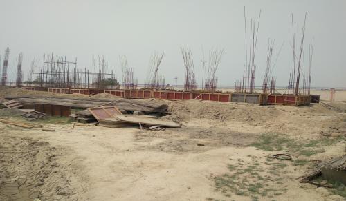Professor's residence – Soil filling work in completed grade slab beam casting work in progress 04.05.2021